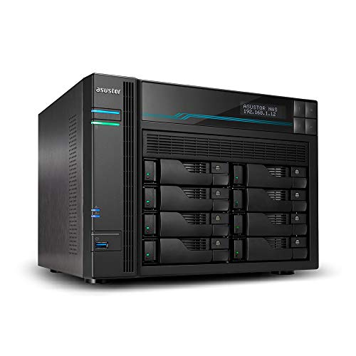 ASUSTOR Lockerstor 8, Creater and Business Network Attached Storage, Intel Atom C3538 Quad-Core 2.1GHz, 2X Intel 10GbE, 2X 2.5GbE, 2X M.2 NVMe SSD Ports, AS6508T 8-Bay NAS, 8GB RAM DDR4, Wake on Wan