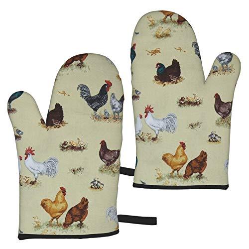 Mayblosom Ofenhandschuhe, Bauernhoftiere, Hühner, hitzebeständig, Mikrowellen-Handschuhe, rutschfest, zum Kochen, Backen, Grillen, Mikrowelle und Grillen (1 Paar)