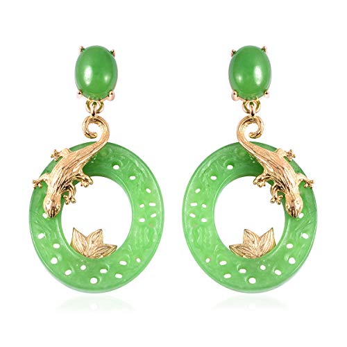 TJC Green Jade Lizard Circular Earrings for Women in Yellow Gold Plated 925 Sterling Silver, TCW 30.25ct