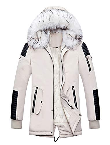 Men's Winter Jacket White With Fur Hood