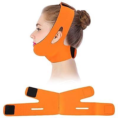 Face Slimming Cheek Mask, V Face Line Belt Breathable Chin Lift Up Anti Wrinkle Sleep Mask Strap(Orange)