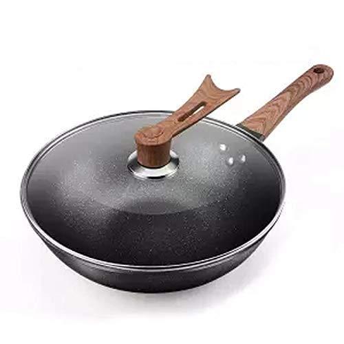 YWYW Wok Wok Sartén Antiadherente Olla de cocción sin sartén Cocina de inducción Cocina de Gas Sartén de Hierro para el hogar