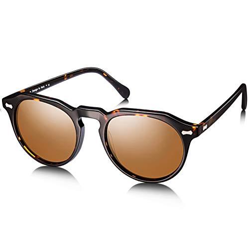 Carfia Runde Polarisierte Sonnenbrille für Damen und Herren, 100% UV Schutz Brille mit Acetat Rahmen