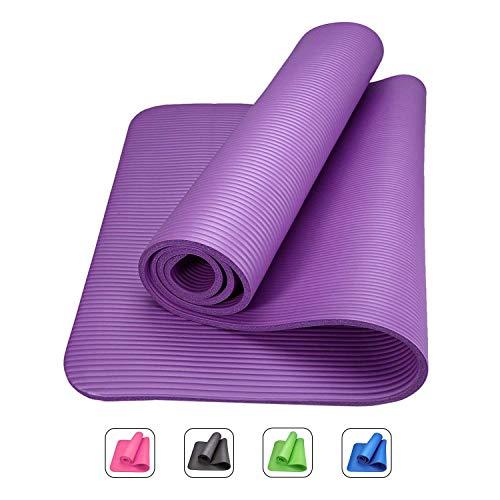 ROMIX Tappetino Yoga Antiscivolo Premium, 10 mm Ecocompatibile Tappeto Esercizi Fitness per Casa e in Viaggio, Alto Spessore e Densità Memory Foam, Non Tossico Tappetini Palestra - Viola