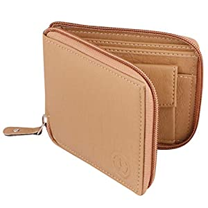 TnW Small Women's Wallet -PU Leather Multi Wallets   Credit Card Holder   Coin Purse Zipper -Small Secure Card Case/Gift Wallet for Women (Beige)