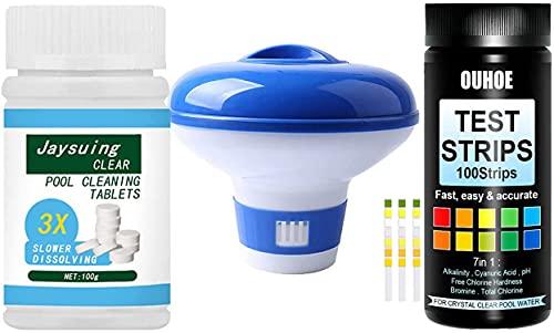 Kit de piscina para tabletas de Chlorine + dispensador de clorina flotante + 100 tiras de prueba de piscina y spa – Kit de mantenimiento de equilibrio de agua para piscina Hot Tub Spa