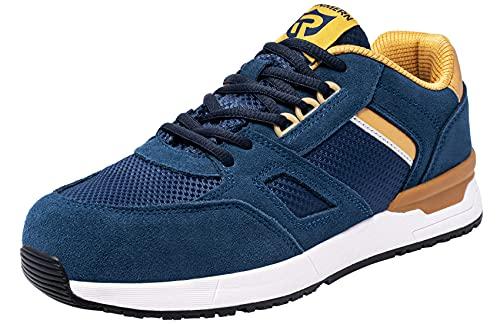 LARNMERN PLUS Zapatos de Seguridad Hombre Trabajo Ligeros Zapatillas de Seguridad Punta de Acero Transpirable Comodos Calzado Seguridad Deportivo SRC Antideslizante S1 Antiestático (Azul,44EU)