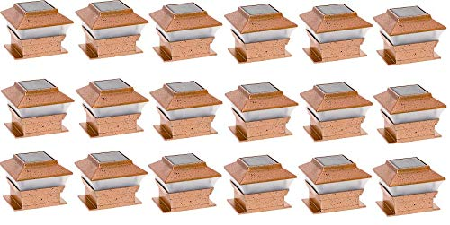 RELIGHTABLE Solar Square Outdoor Post Cap Deck Lights for 4x4 (Copper) (18-Pack)