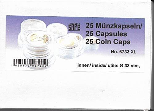 25 x SAFE Münzkapseln CAPS 33 mm / - Ideal für Medaillen - Münzen - Anlagemünzen - 20 Schweizer Franekn - 20 Mark DDR - 3 Mark Dt. Kaiserreich - Krügerrand 1 Unze Gold - 50 $ Dollar Gold American Eagle - 10 EURO / DM - Coincaps - Münzenkapseln