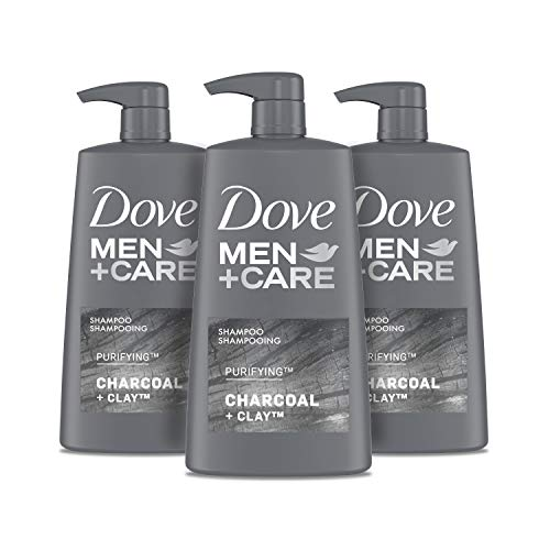 Dove Men+Care Shampoo For Healthy-Looking Hair Charcoal + Clay Naturally Derived Plant Based Cleansers 25.4 oz 3 Count
