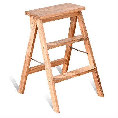 Goquik opvouwbare ladder/kapstoel, massief houten kruk thuis keuken tuin klimmen hoge kruk - draagbare dubbele gebruik woonkamer veiligheid antislip ladder kruk 39 * 20 * 64cm