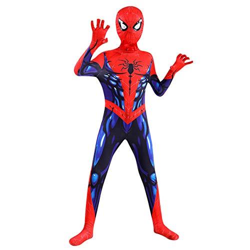 FSMJY Superheld Spiderman Cosplay Kinder Kostüme Halloween Karneval Muskel Spider-Man Jumpsuit 3D-Druck Kostüm Bodysuit Für Kinder Erwachsene,Spiderman-160~170cm