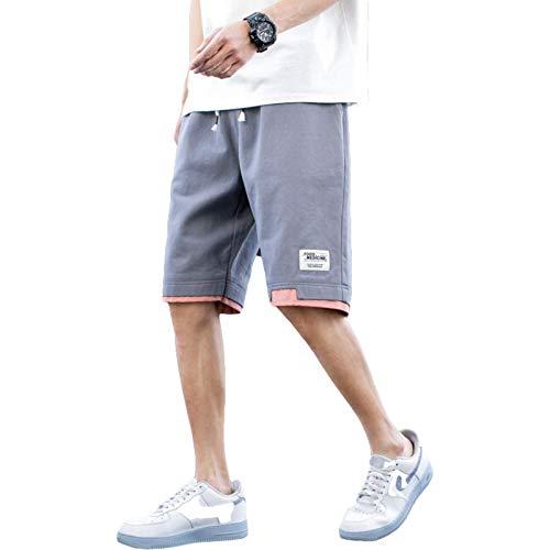 Pantalones Cortos para Hombre Personalidad Costuras en Contraste Ajuste Regular Cintura elástica Pantalones de Playa Casuales Sueltos de Verano, con Bolsillo XXL