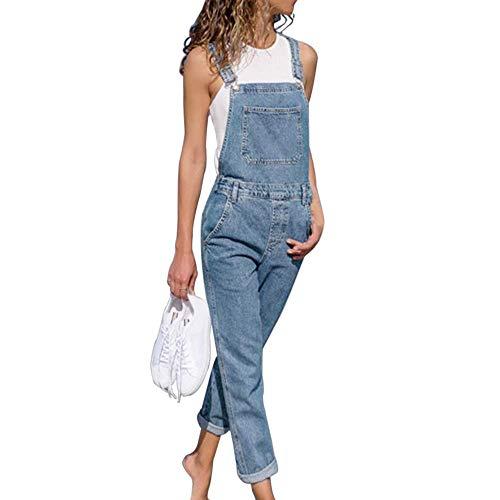 Tomwell Femme Vintage Salopette en Jean Boyfriend Denim Baggy Pantalon Large Bleu Clair 34