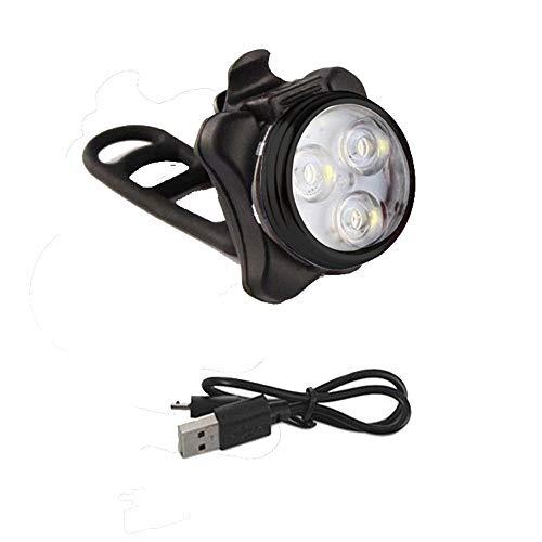 N/J Fahrrad-Frontlicht mit 3 LEDs, wiederaufladbar über USB, mit Clip-Licht