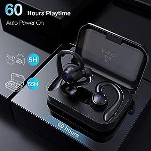Arbily Wireless Earbuds Bluetooth Headphones 5.0, 60H Playtime Bluetooth Earphones with Charging Case IPX7 Waterproof Sport Headphones for Running