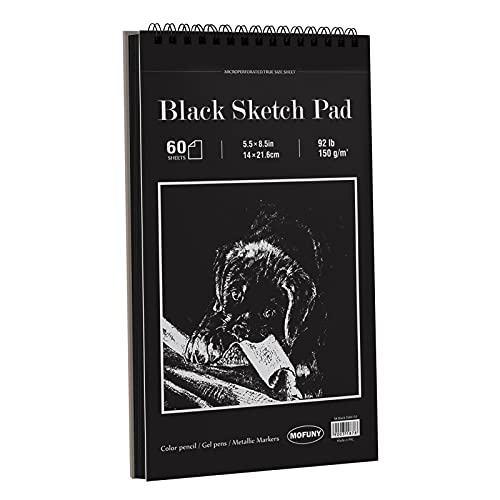 Black Sketch Drawing Paper Pad, 5.5x8.5 inches, 60 Sheets (92LB/150gsm) Heavyweight, Double-Sided Hard Cover, Spiral Bound, for Colored Pencil, Oil Pastel, Charcoal, Graphite, Gel Pen, Ink, Chalk