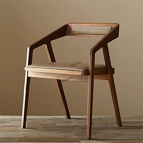 MZXUN Silla de Comedor nórdico Muebles de Cocina Madera sólida sillas de Comedor Cuadrado Respaldo de la Silla de Respaldo del Asiento Suave del Asiento Creativo sillón (Color : Light Brown Dermis)