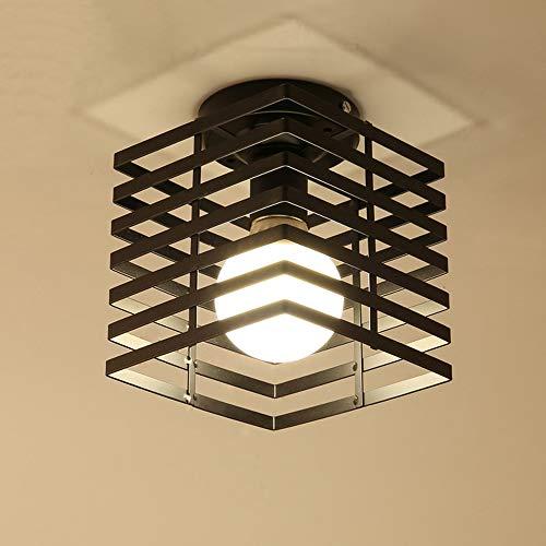iDEGU Plafonnier Industrielle Cage Lustre Suspension en Métal Fer Luminaire pour Chambre Cuisine Couloir, Noir
