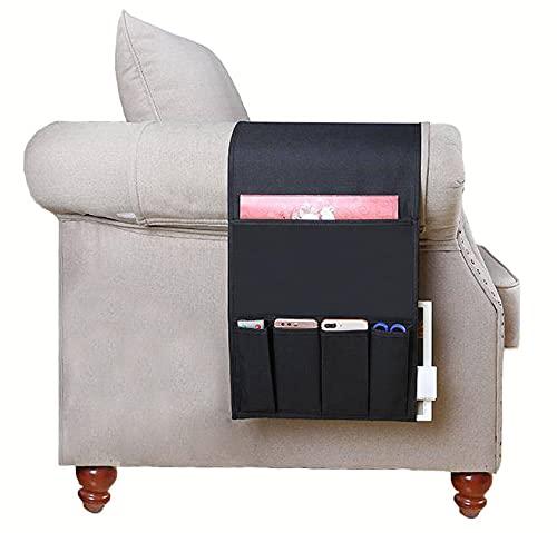 Organizador de almacenamiento remoto para sofá reclinable, duradero, con 5 bolsillos, para sillón, organizador para sofá, antideslizante, de lino grueso, para sofá, sillón, reposabrazos, organizador
