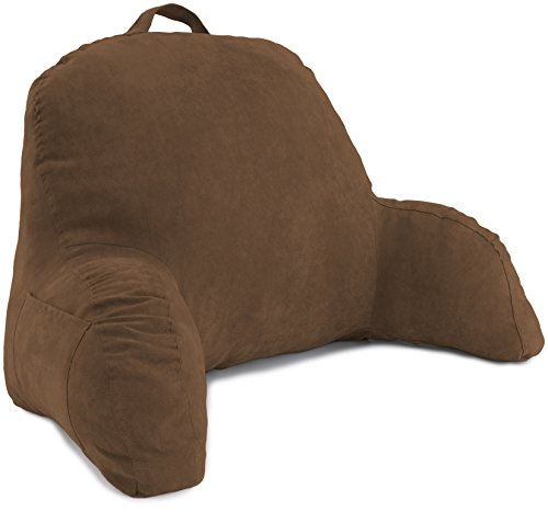 Microsuede Bedrest Pillow Brown -Bed Rest Pillows W/Arms for Reading in Bed