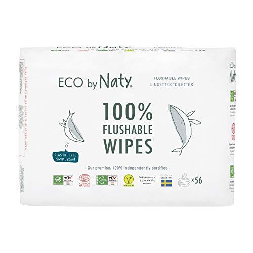 Eco by Naty, Salviettine Gettabili nel WC per Neonato, 168 salviettine (3 confezioni da 56), Salviette Compostabili a Base Vegetale con lo 0% di plastica. Senza sostanze chimiche nocive