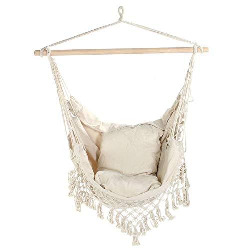 VDSOIUTYHFV Silla de Hamaca Silla de Hamaca Grande Silla Colgante Relajante Tejido de algodón para una Comodidad y Durabilidad Superiores