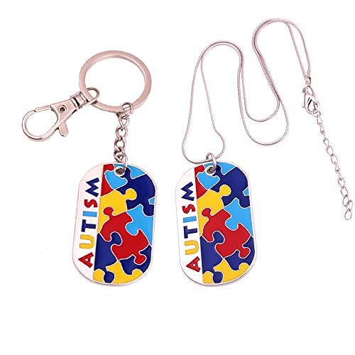 Nobranded Autism Awareness Necklace and Autistic Charm Keychain Gifts, Colorful Puzzle Piece Key Ring, Set of 2