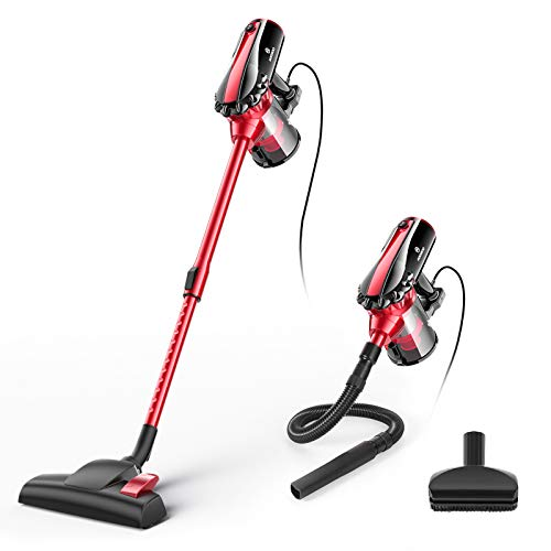 MOOSOO Vacuum Cleaner, 17KPa Strong Suction 4 in 1 Corded Stick Vacuum for Hard Floor with HEPA Filters,Hose, D600