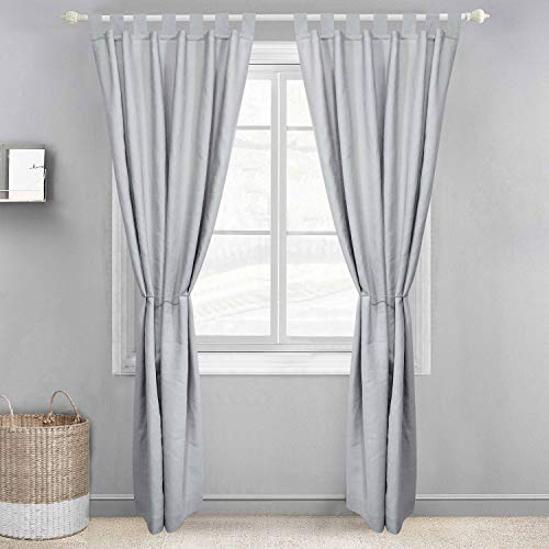 Derf HOME Linen Curtains 96 inches Long 2 Panels Solid Color Light Gray/ Linen Flax Sheer Window Curtains Elegant Window Voile Panels/Drapes/Treatment for Bedroom ( Set 2 Sheer Panels Light Gray)