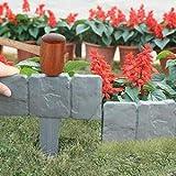 Bordo per prato in granito, bordo per aiuole, bordo per aiuole, decorazione per prato o terrazzo (grigio)