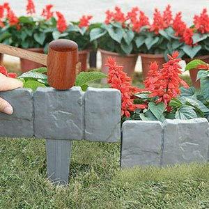 Rasenkante Granit Plant Grenze,Gartenpalisade Beeteinfassung, Grenze Pflanzendekoration für Rasens oder der Terrasse (Grau)