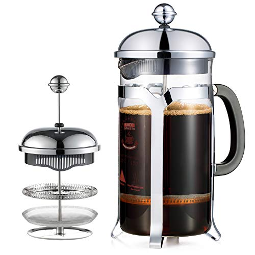 2021 Upgrade French Press Coffee Maker34 ozEAXCK 304 Stainless Steel Coffee Press 4 Level Filtration SystemHeat Resistant Thickened Borosilicate GlassDurable Easy Clean100% BPA Free