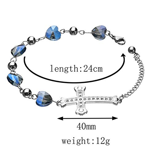 KUANGLANG Stainless Steel Rhinestone Cross Bracelet Bangles Blue Heart Stone Charm Bracelets Women Wedding Gift