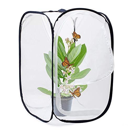 XZANTE Insekten Und Schmetterlings Lebens Raum Käfig Glas Behälter Knalle 23,6 Zoll Hoch (Weiß+Schwarz)