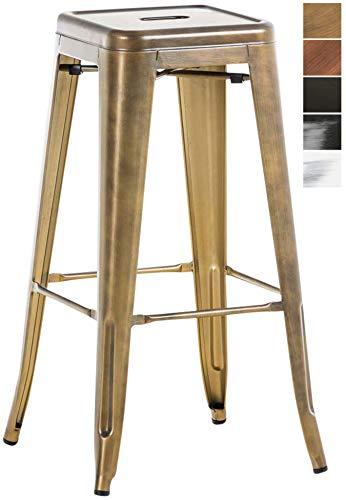 CLP Taburete De Bar Metálico Joshua V2 con Reposapiés I Taburete Apilable Sin Respaldo I Taburete Alto Moderno & En diseño Industrial I Color: Dorado