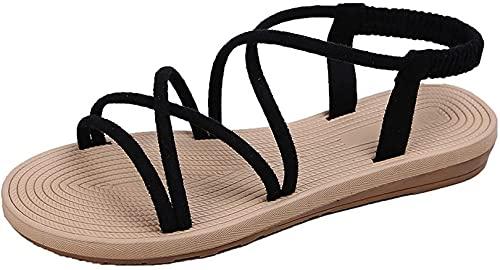 CAETNY feminino sandálias planas chinelos boca de peixe tamanho grande cor pura tiras cruzadas sola de borracha rebatida adequada para o verão interior lazer ao ar livre praia