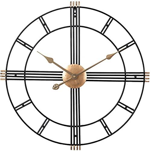 Reloj de pared vintage grande, números romanos Relojes de pared grandes, relojes de pared de metal, sin tictac, para salón, dormitorio, decoración de cocina, 60cm XXL