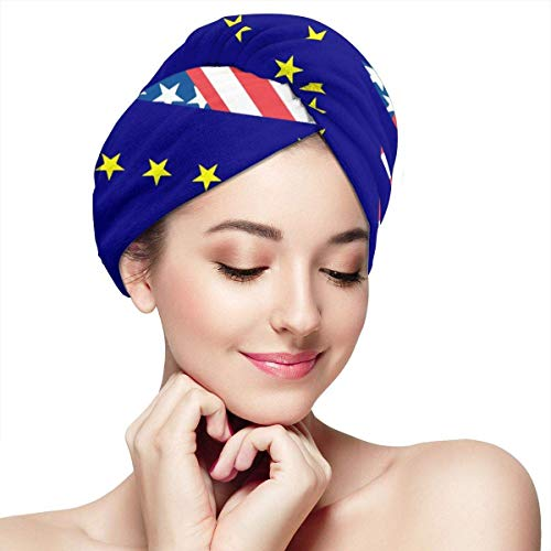 American and Alaska State Flag Hair Towels Wrap Fashion Buttons Dry Hair Hat Wrapped Bath Cap Absorbent Cap Fits Most Hair Types