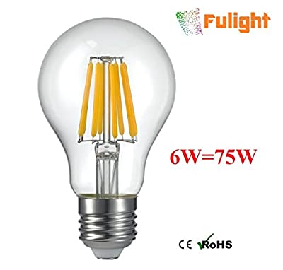 Fulight LED Filament Long Tube Bulb T30 (Dimmable) - 6W Soft White 2700K E26 Medium Base to Replace 60-70W Tungsten Tube Incandescent Bulbs
