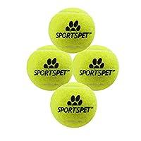 (スポーツペット) Sportspet ワンちゃん用 ミニ テニスボール 犬用 おもちゃ ボール ペット用品 (4個組) (ワンサイズ) (イエロー)