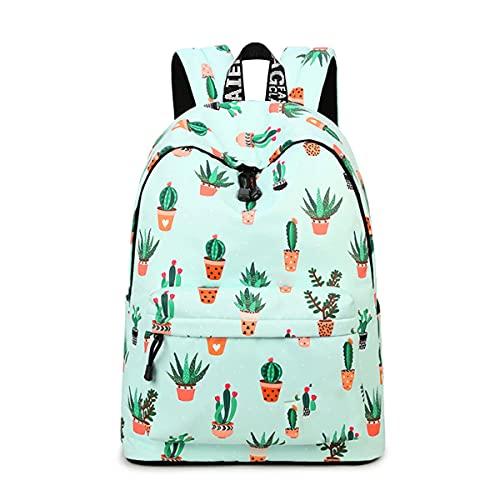 YANAIER Mädchen Schulrucksack Modischer Freizeitrucksack für Frauen Teenager Jungen Wasserdicht Tasche Schulranzen Tagesrucksack mit Laptopfach (Grüner Kaktus)