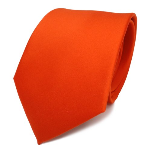 TigerTie - diseñador lazos de satén naranja naranja brillanteorange monocromo poliéster