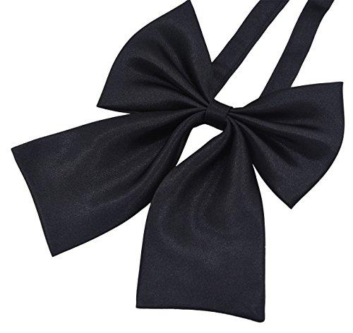 GZZOU Women Bow Tie, Ladies Fashion Solid Color Pre-Tied Silk Necktie (Black)