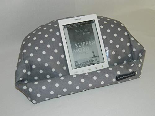Lesekissen, Kissen fürs Tablet, Halter für Tablet, iPad, E-Book-Reader, Buch Punkte grau weiß