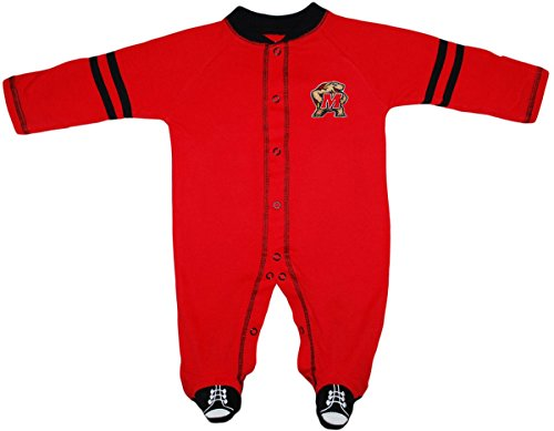 Creative Knitwear University of Maryland Terps Sports Shoe Footed Baby Romper Red/Black