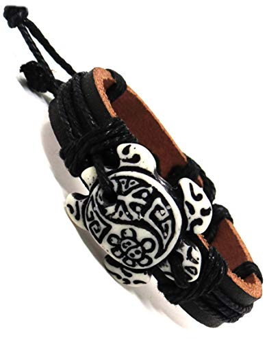 Sea Turtle Bracelet with Indian Symbols Engraved-Turtle with Coqui Taino and Indian Sun-Hawaiian Sea Turtles Leather Bracelet