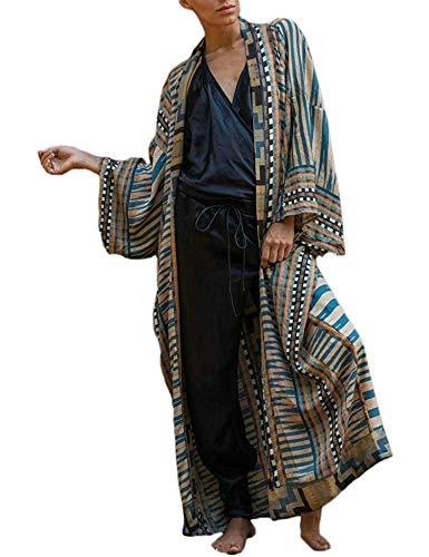 Orshoy Damen Baumwolle Kimono Cardigan Bikini Cover Up Strandpocho Strandkleid,Boho Beachwear Kleid Leichte Strand Jacke für Urlaub Strand Einheitsgröße Print1