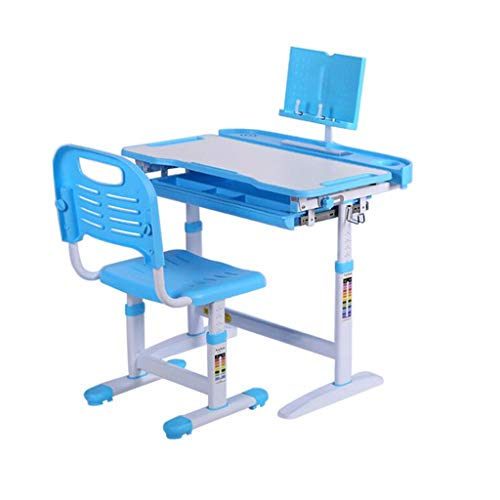 m·kvfa Children Study Desk with Chair, Multifunctional Study Table with Book Stand, School Study Workstation for Kids (Blue)
