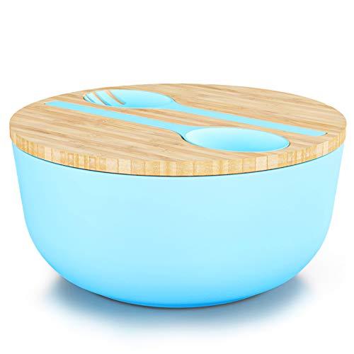 Destyx® Bambus Salatschüssel blau mit Bambusdeckel und Salatbesteck aus Bambus - 25 cm Durchmesser zur Zubereitung und zum Servieren - Ökologisch aus Holz